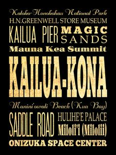 Kailua-Kona, Hawaii, Typography Art Poster/Bus/Transit/ Subway Roll Art 18X24 - Kailua-Konas Attractions Wall Art Decoration -  LHA-387 via Etsy