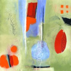 """Linda O'Neill :: """"Letting Go""""  16"""" x 16"""" acrylic and collage on canvas"""