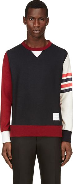 Thom Browne - Red, White & Navy Colorblocked Sweatshirt | SSENSE