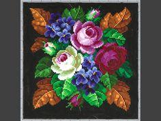 Mönster. För korssöm, tryckt på blått papper och handkolorerat. Blommotiv, i rött, vitt, blått, grönt och brunt på svart botten