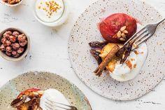 Papillote de melocotones con salsa de coco - Recetas de postre - Veritas