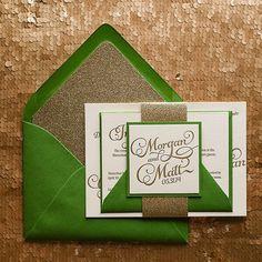 Glitter letterpress invitation