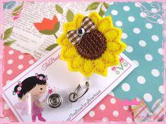 Sunflower Nurse Badge Holder / Fall by TheBowfairyBowtique on Etsy