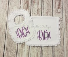 Hey, I found this really awesome Etsy listing at https://www.etsy.com/listing/184591965/monogram-ruffle-bib-and-burp-cloth-set