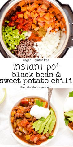 Instant Pot Black Bean Sweet Potato Chili is an easy healthy and delicious dinner This cozy soup is full of warm cozy flavors and family-friendly Gluten free vegan veganinstantpot healthyfamilyrecipes instantpotblackbeans healthyfamilydinner Soup Recipes, Healthy Recipes, Instapot Vegetarian Recipes, Chili Recipes, Muffin Recipes, Sweet Potato Chili, Sweet Chili, Sweet Potato Soup Healthy, Sweet Potato Dinner