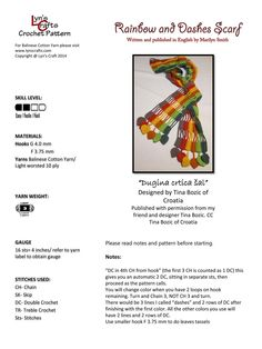 Rainbow and Dashes Scarf Crochet Pattern, free