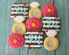 Kate Spade Bridal Shower cookies by The Pink Mixing Bowl!