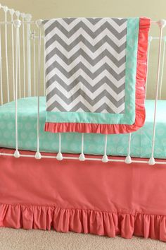 Bumperless Mint Coral Crib bedding by LottieDaBaby on Etsy, $275.00