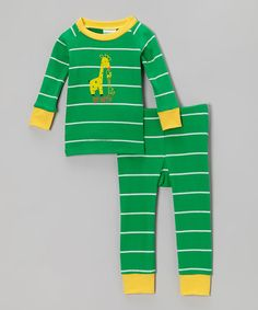 Take a look at this Green & Yellow Stripe Giraffe Pajama Set - Infant on zulily today!