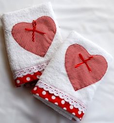 homemade valentine hand towels. SUGGESTION: flour sack towel appliqued simple red heart and nothing else.