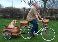 coming…if you ride a bike, and own a dog (like of my hometown) time to invest in a…dog trailer. dogs on a bike Dog Bike Carrier, Dog Bike Basket, Bike Baskets, Dog Trailer, Bike Trailers, Trailer Tent, Campolina, Biking With Dog, Touring Bicycles