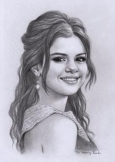 Pencil Portraits - Selena - Discover The Secrets Of Drawing Realistic Pencil Portraits.Let Me Show You How You Too Can Draw Realistic Pencil Portraits With My Truly Step-by-Step Guide. Girl Drawing Sketches, Face Sketch, Art Drawings Sketches Simple, Drawing Art, Sketches Of Girls Faces, Pencil Sketch Portrait, Portrait Sketches, Drawing Portraits, Selena Selena