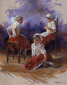 Ricardo Sanz – Vestidas de poxpoliñas Óleo sobre lienzo. 92×73 cms.