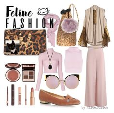 """Feline Fashion"" by alice-durica ❤ liked on Polyvore featuring Versace, Charlotte Olympia, Charlotte Tilbury, Sun of a Beach, Zimmermann, A.L.C., Fendi, Charlotte Russe, Moschino and Panacea"