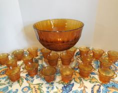 Tiara Glass Punch Set w/ 20 Footed Cups, Ladle & Punch Bowl. Amber Sandwich Glass Set Made by Indiana Glass for Tiara Company, STUNNING!!!