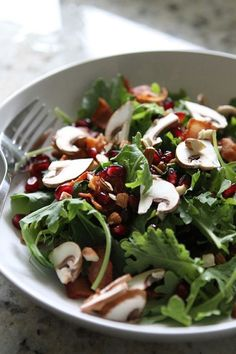 Kale Pomegranate Salad with Warm Bacon Dressing: