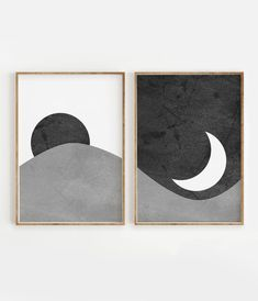 Black and White Sun and Moon Print Set of 2 Abstract Simple Canvas Paintings, Easy Canvas Art, Mini Canvas Art, Diy Canvas, Canvas Wall Art, Easy Wall Art, Abstract Wall Art, Abstract Landscape, Minimalist Art