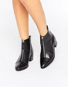 ASOS REPH Leather Zip Ankle Boots