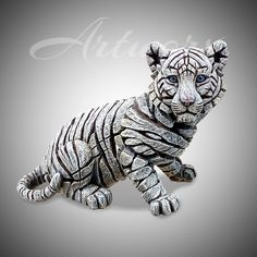 Traditionally sculpted from clay, hand-cast from a special blend of marble stone and hand-painted in studios in Shropshire: height length depth subject: tiger, cub, big cat Concrete Projects, Ceramics Projects, Stone Sculpture, Sculpture Art, Wooden Wall Art, Wood Art, Tiger Artwork, Names Of Artists, Tiger Cub