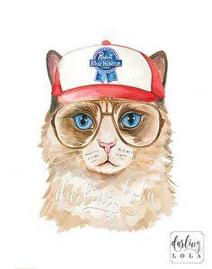 Cat Watercolor Print - Hipster Cat - Cat Art - Illustration -  Animal Art - Anthropomorphic - Trucker Hat Cat - PBR - Ragdoll Cat