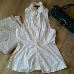 BCBGMaxAzaria summer white top What a perfect top to have this summer. BCBGMaxAzria crisp white cotton (blended with nylon and spandex) top. Excellent condition. Comes from super clean and smoke free home. Other items in styling photo are also available in my closet....20% off all bundles. BCBGMaxAzria Tops Blouses