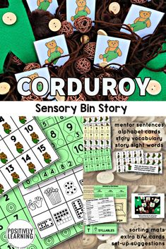 Here's a set of sensory bin task cards after reading the sweet story of Corduroy by Don Freeman. Add the sensory bin to your literacy or math centers. #sensorybin #corduroy #taskcards