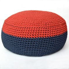 Bold red and navy handmade crocheted pouf - beautiful and practical for the nursery/bedroom