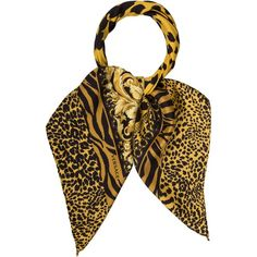 Pre-owned Versace Printed Silk Scarf ($125) ❤ liked on Polyvore featuring accessories, scarves, animal print, silk shawl, leopard print scarves, animal print scarves, patterned scarves and pure silk scarves