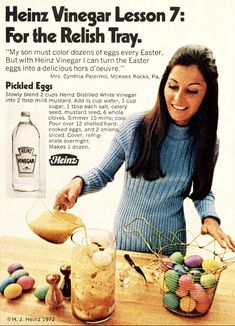 Heinz Vinegar Pickled Eggs - Ah, the lost art of making pickled eggs. Like pipe cleaner crafts and public hangings, some things should be allowed to die out. Retro Recipes, Old Recipes, Vintage Recipes, Great Recipes, Cooking Recipes, Favorite Recipes, Vintage Food, Retro Food, Vintage Ads