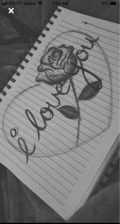 pencil drawings - I love you lettering rose heart art Art heart lettering Love rose tekenen Cool Art Drawings, Pencil Art Drawings, Art Drawings Sketches, Doodle Drawings, Disney Drawings, Easy Drawings, I Love You Drawings, Drawing Drawing, Drawings Of Hearts