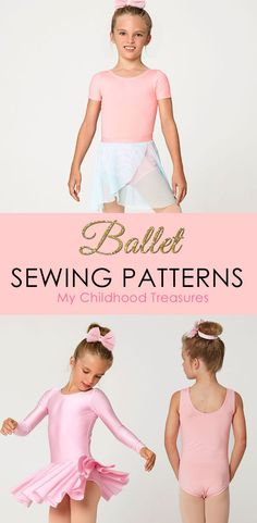Girls ballet leotard patterns. Easy to make with your regular sewing machine.