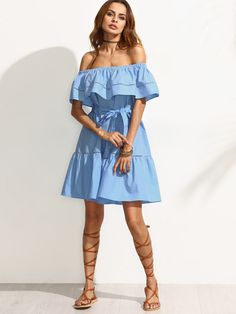 Shop Blue Tie Waist Hollow Insert Ruffle Off The Shoulder Dress online. SheIn offers Blue Tie Waist Hollow Insert Ruffle Off The Shoulder Dress & more to fit your fashionable needs.