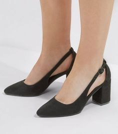 8031d80b6df Wide Fit Black Suedette Pointed Cut Out Heels