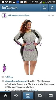 bc87f2c9c2e8c4 Outlet Plus Size BodyCon with Black Liquid Side Panels and Black and White  Checkered Middle and Sleeve (size Final Sale