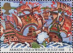 400th Anniversary of Spanish Armada 18p Stamp (1988) Engagement off Isle of Wight