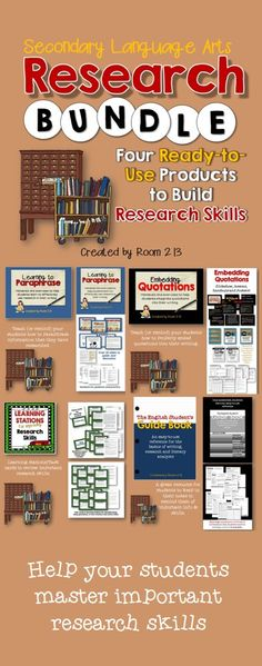 Activities and lessons for teaching research skills. Do your students need to learn to research properly? Or, do they know what to do but need some reminding and practice? In this bundle you will find four different products to help you help them. Teaching Writing, Teaching English, Essay Writing, Persuasive Writing, Middle School Writing, Middle School English, Research Skills, Study Skills, Teaching Methods