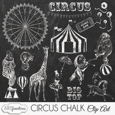 Circus Chalk Clip Art CIRCUS CHALK CLIPART 20 hand by Artfanaticus  My backgrounds, textures, digital paper and clip art can be used for just about any project. Add some additional artistic style to your photo albums, photography projects, photographs, scrapbooking, weddings, invitations, greeting cards, gift wrap, labels, stickers, tags, signs, business cards, websites, blogs, party decor, jewelry & more.  For more digital papers, please visit Artfanaticus at:  http://artfanaticus.etsy.com