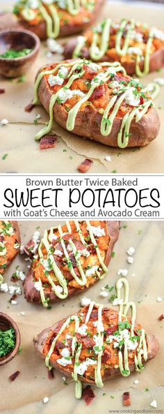 Brown Butter Twice Baked Sweet Potatoes with Goat's Cheese and Avocado Cream recipe is perfect Easter brunch or dinner! | www.cookingandbeer.com