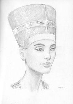 Nefertiti sketch by dashinvaine on DeviantArt Egyptian Queen Tattoos, Egyptian Drawings, Egyptian Art, Royalty Tattoo, Nefertiti Tattoo, Africa Tattoos, Egypt Tattoo, Queen Drawing, Traditional Tattoo Design