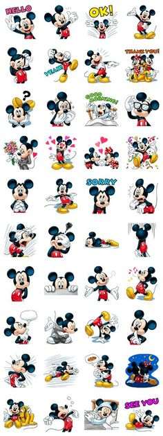 This sticker set stars everyone& favorite mouse, Mickey! Send these stickers today and charm your friends with his warm smile and priceless expressions. Arte Do Mickey Mouse, Mickey Mouse Stickers, Mickey Mouse And Friends, Mickey Mouse Birthday, Disney Mickey Mouse, Minnie Mouse, Mickey And Minnie Love, Retro Disney, Disney Love
