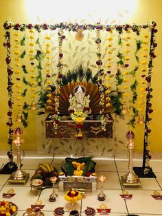 Housewarming Decorations, Diy Diwali Decorations, Home Wedding Decorations, Backdrop Decorations, Festival Decorations, Flower Decorations, Eco Friendly Ganpati Decoration, Ganpati Decoration Design, Mandir Decoration
