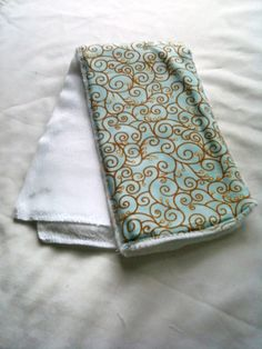 Teal and Gold Scroll Cloth Diaper Burp Rag