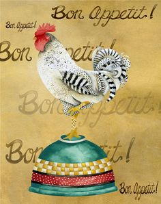Gourmet Rooster Bon Appetit by studiopetite on Etsy Bon Appetit, Chicken Bird, Chicken Painting, Rooster Art, Images Vintage, Chickens And Roosters, Hens And Chicks, Galo, Tea Art