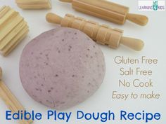 No cook playdough recipe for babies. Great way to use up old Farex baby rice cereal.