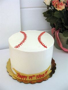 Baseball cake. So simple. With matching cupcakes would be cute and Dodgers written on it of course!