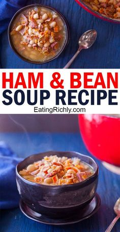 This leftover ham and bean soup recipe uses up extra ham in your fridge or freezer and makes a quick and easy soup dinner everyone will love ham hamrecipe hamsoup beansoup soup souprecipe dinnertonight dinner dinnerrecipe leftovers leftoverham Bean Soup Recipes, Chicken Soup Recipes, Crockpot Recipes, Ham Recipes, Chowder Recipes, Chili Recipes, Fun Easy Recipes, Dinner Recipes, Easy Meals