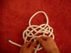 A fairly complex flat knot derived from the Carrick Bend. Useful for seeing how to join series of knots. For more information about my work to go www.tomfool...