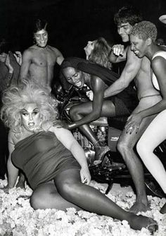 June 1978: Divine, Grace Jones and Julie Budd at Jones's birthday party at Xenon, New York. Photo by Ron Galella. ☚