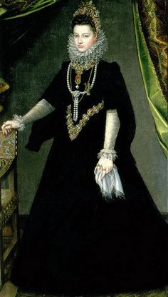 Colour was extinguished by ubiquitous black, relieved only by white lace. (Isabella Clara Eugenia by Sofonisba Anguissola, circa 1599)