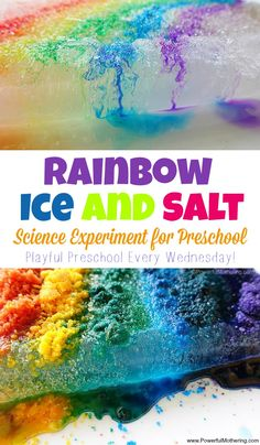 Earth Rainbow Ice and Salt Science Experiment for Preschool - This melting ice experiment for preschool lets kids experiment with salt and ice in a rainbow style! See the difference between using color salt vs water colors. Science Experiments For Preschoolers, Science Fair, Science For Kids, Earth Science, Summer Science, Science Notes, Chemistry Experiments, Physical Science, Science Lessons